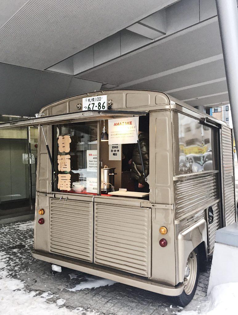 amazake seller sapporo snow festival hokkaido japan